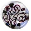 Glass Lamp Bead 30mm Round Crystal/Black